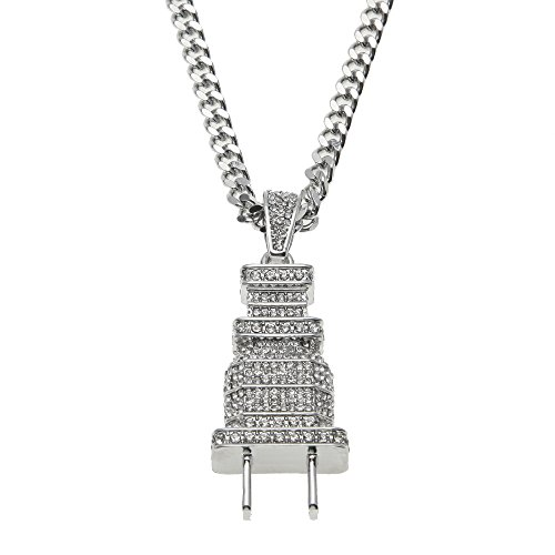 AOVR Hip Hop CUBAN LINK Chain 14k Gold Silver Plated CZ CRYSTAL Fully Iced-Out Plug Pendant (Silver)