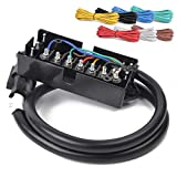 HQAP 29FT Heavy Duty 7 Way Plug Cord Inline Harness Kit-4 FT 7 Way Plug Inline Trailer Cord with 7 Gang Junction Box, 25 FT Trailer Wiring Harness spools 14 Gauge 7 Wire 7Colors,Weatherproof