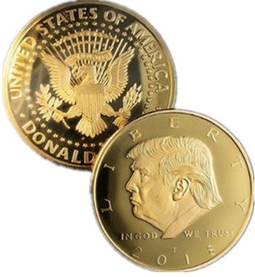 24k Hard Gold Plated (Donald Trump Gold Coin 2018, 24K Gold Plated Collectible Eagle Coin,Commemorative Coin & Fit Display Case 45th President of the United States)