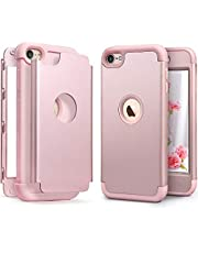 IDWELL Case for iPod Touch 7 Touch 6 Touch 5 with 2 Screen Protector, [Three Layer Series] Heavy Duty Protection Shockproof High Impact Protective Case for Apple iPod Touch 5/6/7th Gen, Rose Gold
