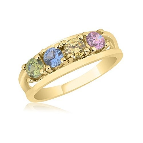 10K Yellow Gold Graceful Ring – 4 Birthstone Family Ring by Ice Gold Jewellery Inc
