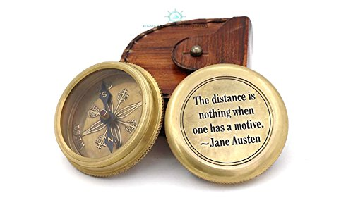 Roorkee Instruments India The distance is nothing Inspirational Quote with Compass/inspirational Gift/Directional Magnetic Compass for Navigation/Pocket Compass for Camping, Hiking, Touring by Roorkee Instruments India