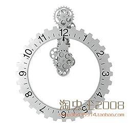 Retro wall gear clock, creative home mechanical wall clocks,20 inch silver
