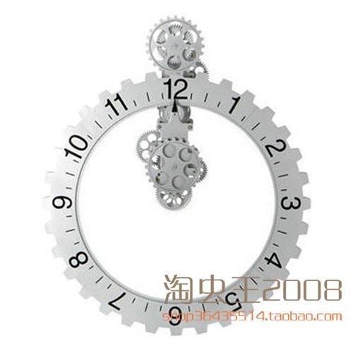 Retro wall gear clock, creative home mechanical wall clocks,20 inch silver by PINWEI (Image #4)