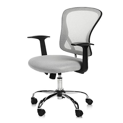 Kerms Ergonomic Adjustable Swivel Office Chair with Lumbar Support and Rollerblade Wheels-Mid Back with Breathable Mesh-Thick Seat Cushion, Desk Chair Grey