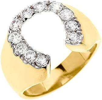 Details about  /HCJ MEN/'S GOOD LUCK NO STONE HORSESHOE FASHION RING SIZE 9 10