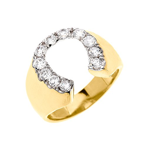 Men's 14k Yellow Gold Black Diamond Horseshoe Good Luck Ring (Size (Mens Diamond Horseshoe Ring)