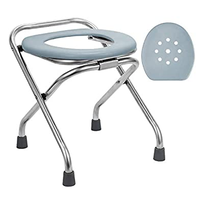 BLIKA Stainless Steel Folding Commode Portable Toilet Seat, Commode Chair with Lid, Camp Toilet Seat Converts into Folding Stool Perfect for Camping, Hiking, Trips, Construction Sites