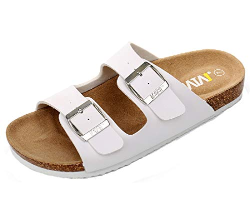 WTW Women's Arizona Flat 2 Strap Cork Sandals Soft Suede Footbed Slides (US 9, White) ()