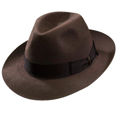 - Borsalino Beaver Fur Felt Hat - Brown Medium Brim-DkBrown-57