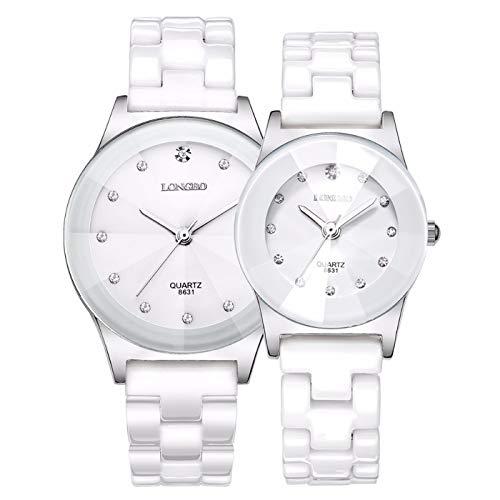 Mens White Ceramic Watches - Luxury Casual Men Women Ceramic Fashion Couple Sports Rhinestone Waterproof Quartz Girls Watches (White)