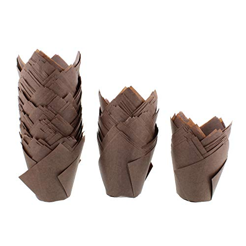 SpecialT Tulip Cupcake Liners - 200 Ct Medium Brown Tulip Style Muffin Cups Paper - Baking Cups, Cupcake Wrappers