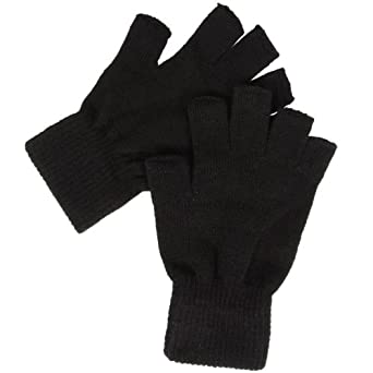 black thermal fingerless gloves amazoncouk clothing