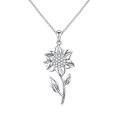 S925 Sterling Silver Sunflower with CZ Pendant Necklace for Women 18