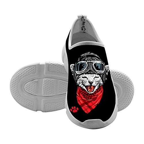 Pilot Cat Pussy Kids Sport Sneakers Slip-On Loafers Design Elastic Shoes