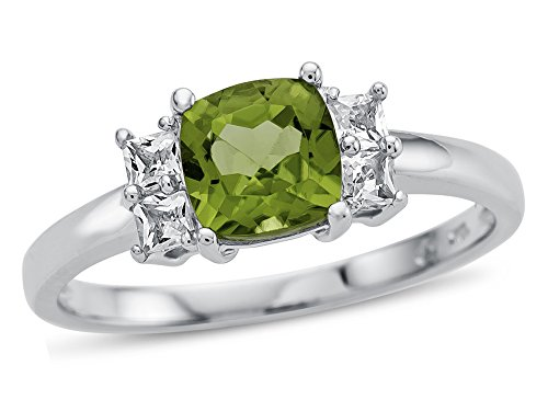 Finejewelers 6x6mm Cushion Peridot and White Topaz Ring 10 kt White Gold Size 8.5