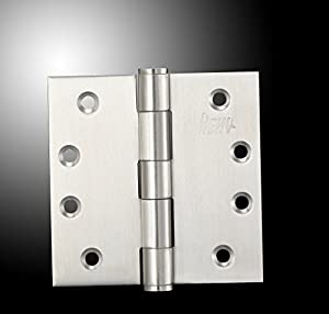 [4 x 4 in x 2.5mm - Square Corner- 3 Pieces] Hexy-304 Stainless Steel Heavy Duty Door Hinges Commercial Grade (3, Square Corner)