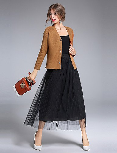Street Light Neck Regular Women's Rayon Solid V chic Cute Simple Going out Winter Sleeves Cardigan Xuanku Long Nylon Polyester Brown Medium 8CFAMILY Casual Daily Fall 8wA6qngpF
