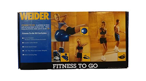 Weider Fitness to Go Balance Ball, Resistance Bands, Wrist & Ankle Weights, Deluxe Speed Rope