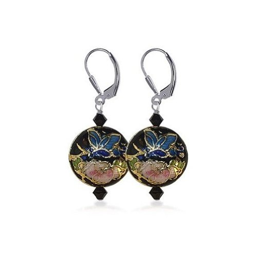 (925 Sterling Silver Cloisonne Beads Black Leverback Drop Earrings Handmade with Swarovski Crystals)