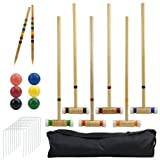 Outdoor Croquet Set with Deluxe Carrying Case - Up to 6 Players!