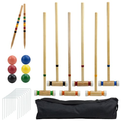 Outdoor Croquet Set with Deluxe Carrying Case - Up to 6 Players! by Brybelly