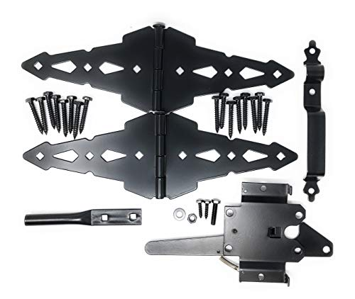Wood Gate Hardware Set - Heavy Duty Kit for Fence Swing Gate- Outdoor Decorative Black Finish w/ 8