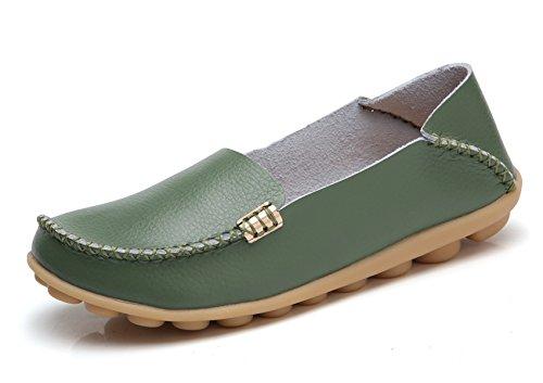 VenusCelia Women's Natural Comfort Walking Flat Loafer(8 M US,Green) ()