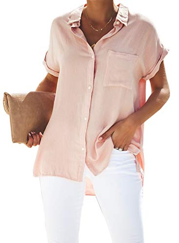 HOTAPEI Womens Summer Casual V Neck Basic Cuffed Sleeve Button Down Collar Front Pockets Chiffon Blouses for Women Shirts Tops Pink Small