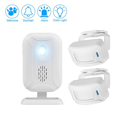 Mengshen Wireless Infrared Motion Sensor Alarm Doorbell Security Burglar Alarm for Home Shop - 2 Sensor and 1 Receiver - 2 Intruder