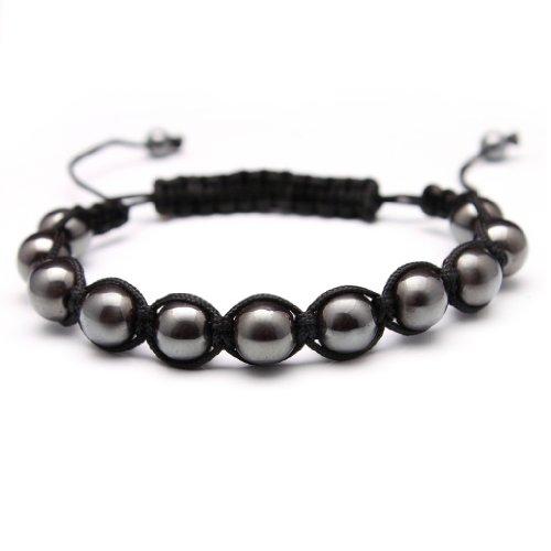 (Bleek2Sheek Hematite Macrame Shamballa Inspired Bracelet)