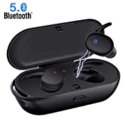 #LightningDeal 95% claimed: Wireless Earbuds,Upgraded Bluetooth 5.0 Bluetooth Earphones Deep Bass True Wireless Earbuds Stereo Hi-Fi Sound Wireless Headphones with Mic Charging Case Noise Reduction Compatible with iphone Android