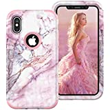 iPhone Xs Max Case, Pink Marble for Protective Soft Silicone Rubber Matte Cover Slim Fit Phone Case PC silica gel 3 in 1 apple 6.5 inch Anti-fall Shell