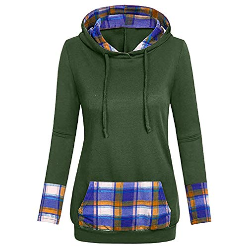 - DEATU Sale Womens Tops Blouse Tunic Sweatershirt Women Plaid Hooded with Kangaroo Pocket V-Neck Hoodies(Green a,Medium
