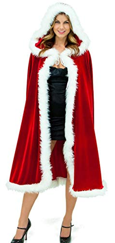 VERNASSA Adult Child Red Hooded Cape, Halloween Christmas Costumes Cloak Santa Claus Cosplay Fancy Dress Costume Robe Outwear
