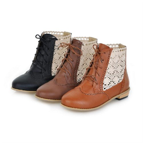 Womens Low Heel Western Foot Boots Chukka Charm Hollow Boots Brown Out Boots Martin qOnUpxCSx