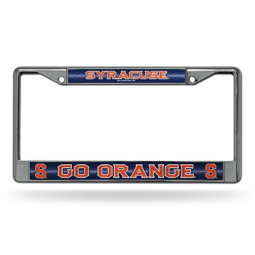 (NCAA Syracuse Orange Bling Chrome License Plate Frame with Glitter Accent)