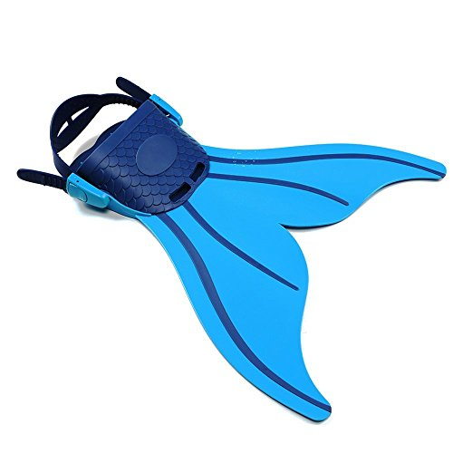 Lexbo Monofin Mermaid Tails Adjustable Swim Fins for Children Swimming Diving,Foot Flipper with 3 Color for (Tail Swim Fin)
