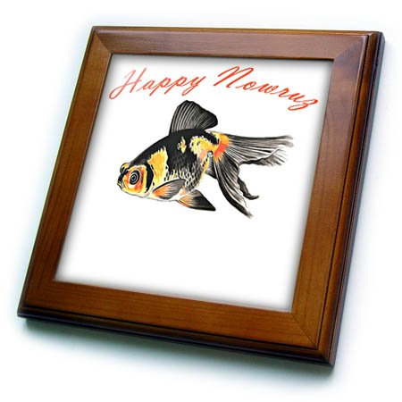 Equinox Framed (3dRose Taiche - Greeting Card - Happy Nowruz - Happy Nowruz Demekin Goldfish Persian New Year - 8x8 Framed Tile (ft_275651_1))