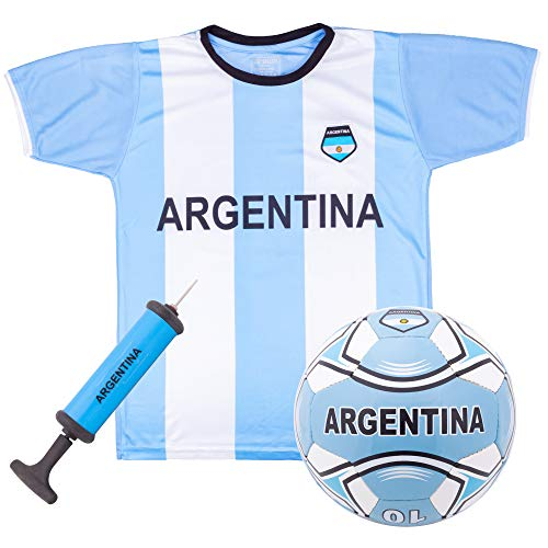Argentina National Team Kids Soccer Kit | Includes Jersey, Shorts, and Soccer Ball | Blue and White Design | World Cup Youth Attire | Premium Gift for Soccer/Football Fans (Medium)