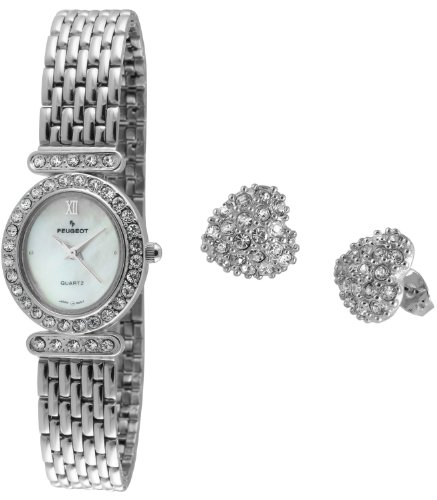 Peugeot Women's 555S Silver-tone Watch & Crystal Accented Earing Gift Set