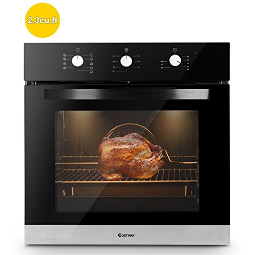"Costway 24"" Built-In Single Wall Oven Electric 2.3 Cu. Ft. Capacity Tempered Glass Multi-Function European Convection Oven with Push Buttons Control (9 Functions)"