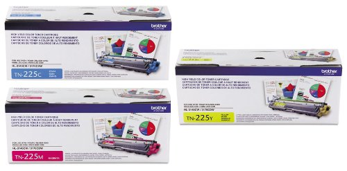 Genuine Brother TN225 (TN-225) High Yield Color (C/M/Y) Toner Cartridge 3-Pack (TN225C ,TN225M ,TN225Y) Brother HL-3140CW, HL-3170CDW, MFC-9130CW, MFC-9330CDW, MFC-9340CDW, Office Central