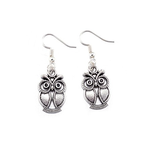 "BLOOMCHARM ""Charming U"" Owl Pendent Chain Necklace Dangle Earrings Set, Birthday Gifts for Women Girls"