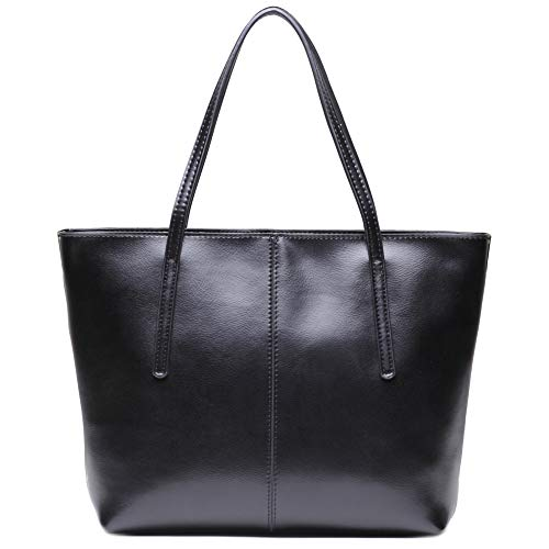 (CHERRY CHICK Women's Large Genuine Soft Leather Tote Purse and Shoulder Bags Soft Hot (Shiny Black-2153))