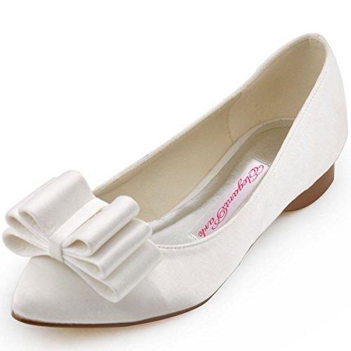 ElegantPark Punta Chiusa Satén Pisos Zapatos Marfil Arcos Mujer Boda FC1406 de PaPrpwHqWT