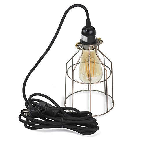 Pendant Lighting by Rustic State - With Industrial Style Cage for Authentic Vintage Lights Includes 15 feet Plug-in Fabric Cord with Toggle Switch and One Edison Bulb (Oil Robbed with LED Bulb) by ArtifactDesign