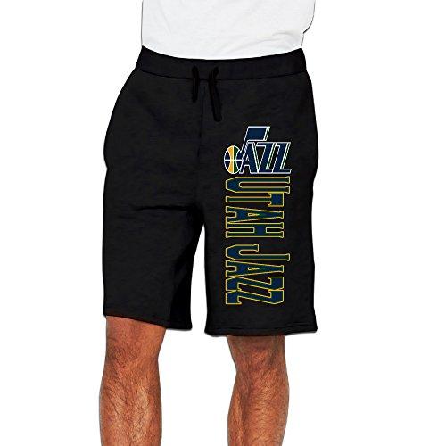 Men's Utah Jazz Logo Cotton Short Sweat Pants Black US Size XL ()