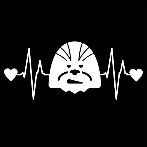 DD225 Simple Chewbacca Star Wars Inspired Heartbeat Decal Sticker | 7- Inches By 2.9 - Inches | Premium Quality White Vinyl -