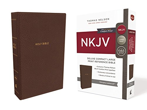NKJV Deluxe Reference Bible Compact Large Print Imitation Leather Brown Red Letter Edition Comfort Print
